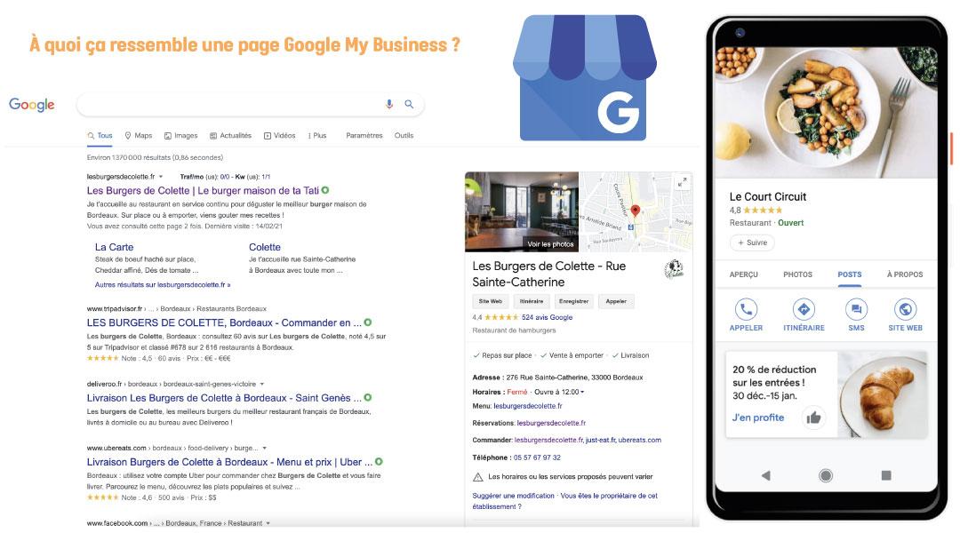 Visualisation d'une page Google My Business sur desktop et mobile